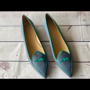 J Crew Blue Two-Toned Pointed Loafers